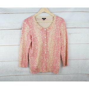 New Talbots Pink Cream Cardigan Sweater